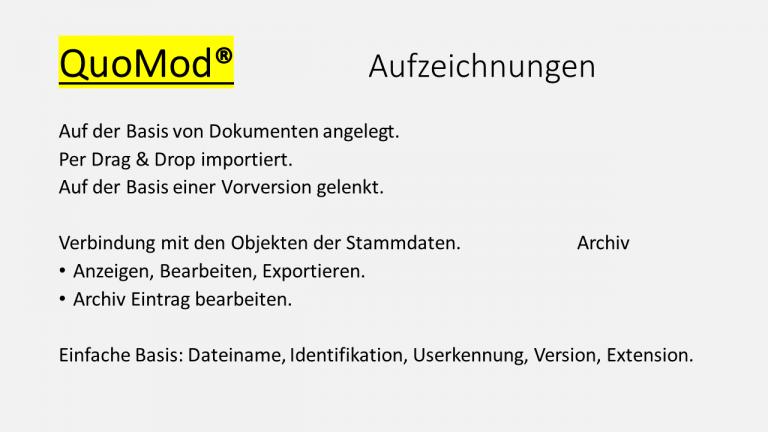 QuoMod Lenkung von Dokumenten Folie Aufzeichnungen 170927
