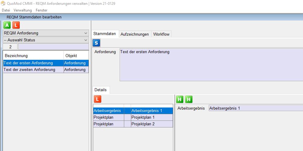 Anforderungen verwalten – REQM CMMI konform mit Software unterstützen | Version 21-0129, Bildschirmfoto 2: Auswahl von Anforderungen