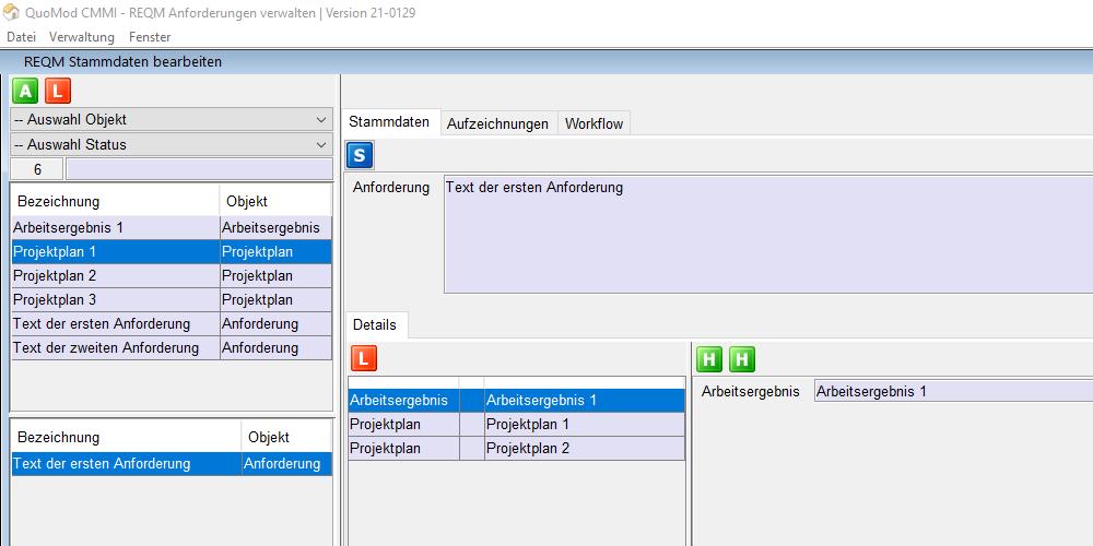 Anforderungen verwalten – REQM CMMI konform mit Software unterstützen | Version 21-0129, Bildschirmfoto 1: Auswahl von Projektplänen
