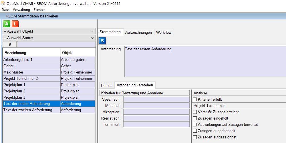 Version 21-0212, Zusagen zu Anforderungen einholen, Bildschirmfoto 1: Neue Optionen unter der Projekt Teilnehmer Überschrift