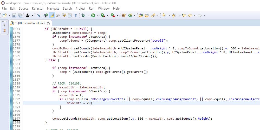 Version 21-0212, Zusagen zu Anforderungen einholen, Bildschirmfoto 2: Eclipse Java Programmierung der Einrückung von Optionen
