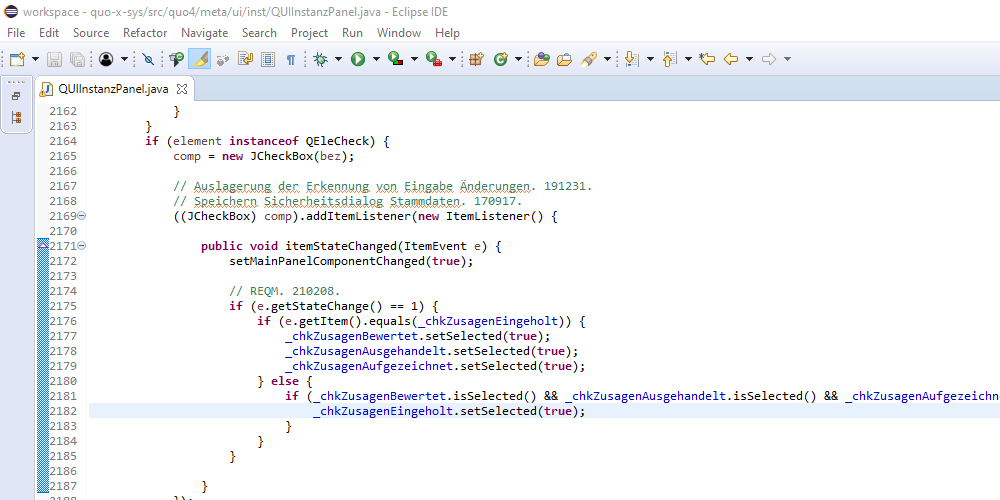 Version 21-0212, Zusagen zu Anforderungen einholen, Bildschirmfoto 3: Eclipse Java Programmierung der Beobachtung der Optionen Eingaben