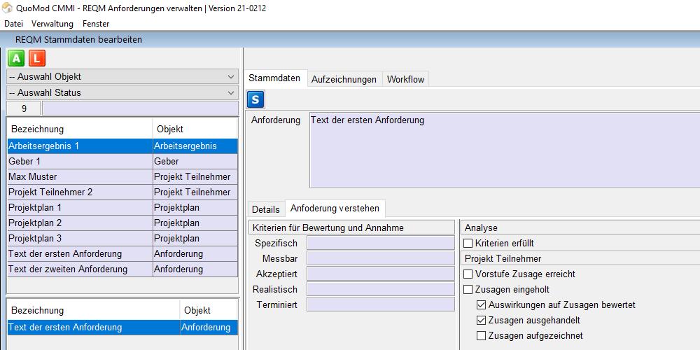 Version 21-0212, Zusagen zu Anforderungen einholen, Bildschirmfoto 4: Einrückung der neuen Optionen aus den Subpraktiken