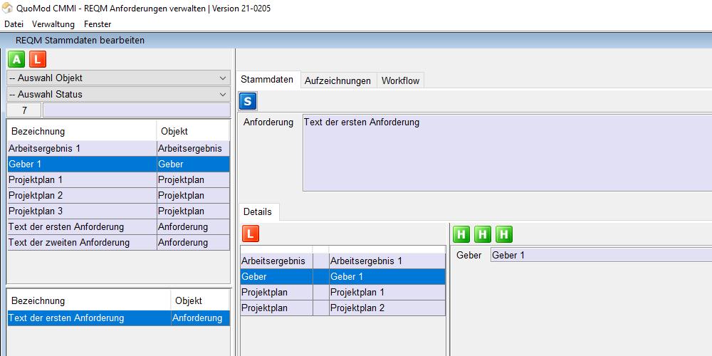 Anforderungen verstehen – REQM Kriterien smart und konform zur CMMI in der Software positionieren | Version 21-0205, Bildschirmfoto 1: Zuweisung Geber mit bidirektionalem Aufruf der Anforderung im unteren dargestellten Bereich