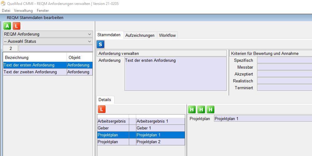 Anforderungen verstehen – REQM Kriterien smart und konform zur CMMI in der Software positionieren | Version 21-0205, Bildschirmfoto 2: Überschrift mit den ersten Kriterien neben dem Text der Anforderung