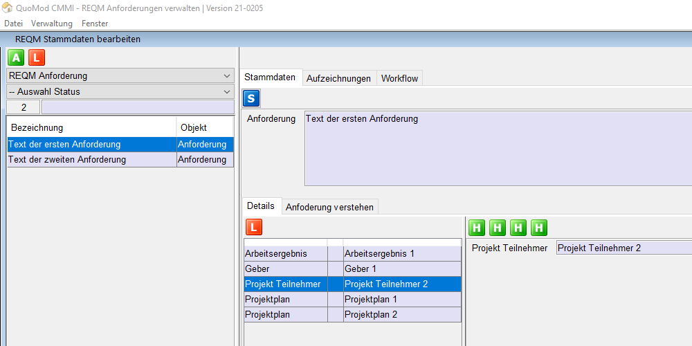 Anforderungen verstehen – REQM Kriterien smart und konform zur CMMI in der Software positionieren | Version 21-0205, Bildschirmfoto 4: Zuweisung Projekt Teilnehmer zur Anforderung